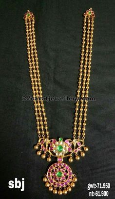 Necklaces Simple Pretty Gold Balls Long Chain - Latest Collection of best Indian Jewellery Designs. Gold Jewellery Design, Gold Jewelry, Beaded Jewelry, Handmade Jewellery, Gold Necklace, Antique Jewellery, Simple Necklace, Glass Jewelry, Necklace Set