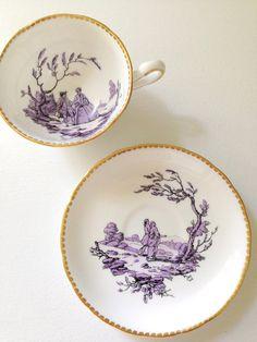 Antique Rare Royal Chelsea English Bone China Scenic Tea Cup & Saucer Artist Initials Tea Party