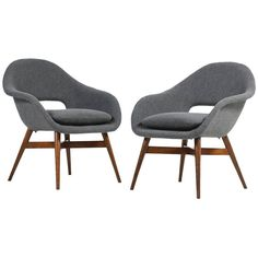 Beautiful Pair of 1960s Miroslav Navratil Lounge Chairs, New Upholstery | See more antique and modern Lounge Chairs at https://www.1stdibs.com/furniture/seating/lounge-chairs