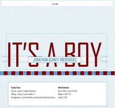Replace the baby name and family info with your own information in this Publisher 2010 template. You can change the color scheme and font scheme with a few clicks too if you prefer something different.
