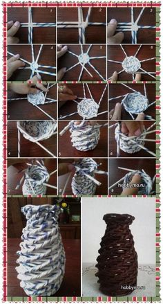 Recycled Magazine Crafts, Recycled Paper Crafts, Paper Mache Crafts, Paper Roll Crafts, Newspaper Crafts, Diy Paper, Newspaper Basket, Paper Pin, Recycled Magazines