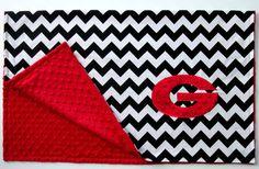 Oh I so want this!!!!  University of Georgia Chevron Minky Dot Blanket by jamnjelli, $36.00