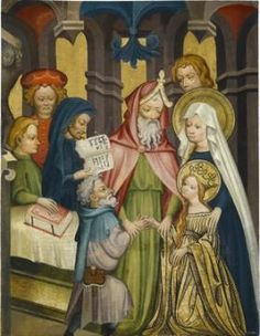 So-called Ulmer altar: the betrothal of Mary, c 1400