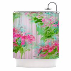 """Ebi Emporium """"Whispered Song 2"""" Pink Green Teal Shower Curtain from KESS InHouse"""