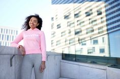Pink Majuscule hoodie from Famme Custom Made, Adidas Jacket, Hoodies, Fitness, Fabric, Pink, Cotton, Jackets, Fashion