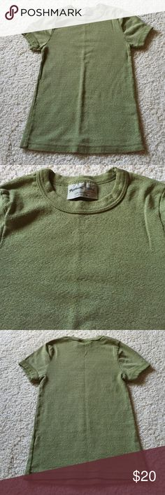Michael Stars Green Shimmer Tee Michael Stars green shimmer tee. Excellent condition. 50% cotton, 50% nylon. Short sleeves. One size fits most but probably better from XS to M. Not from a smoke-free house. Michael Stars Tops Tees - Short Sleeve