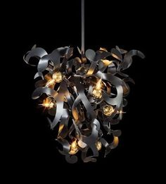 KELP chandelier conical in a black matt finish with brass lighting globes. Design by William Brand, BRAND VAN EGMOND Customised Lighting Sculptures