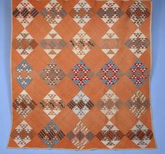"""Pieced Cotton Quilt, 19th c., Cut Glass Dish or """"Winged Square"""" design, 84 x 81, Charles A Whitaker Auction Co., Live Auctioneers"""