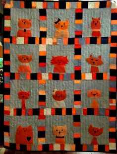 Sharon made this terrific cat quilt in awesome oranges and spectacular stripes! Pattern: http://shop.shinyhappyworld.com/collections/quilt-patterns/products/cats-quilt-pattern-workshop