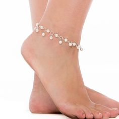 Pearl Ankle Bracelet, White Pearl Sterling Silver Anklet