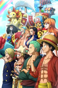 Straw Hat Pirates and Thousand Sunny - Strohhut-Piraten und tausend sonnige - One Piece Manga, One Piece Figure, One Piece Ace, One Piece Drawing, Zoro One Piece, One Piece World, One Piece Fanart, One Piece Series, One Piece Images