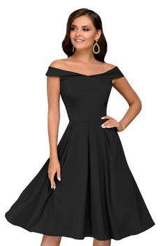 c63f0fbae88 Women Solid Black Sleeveless Off Shoulder Retro Fit and Flare Peplum Midi  Dress