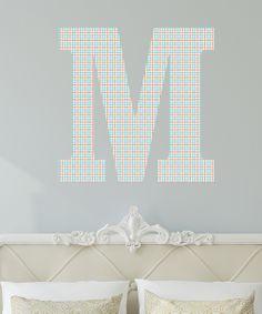 Teal Coral Pinwheel Monogram Wall Decal Daily Deals For Moms - Coral monogram wall decal