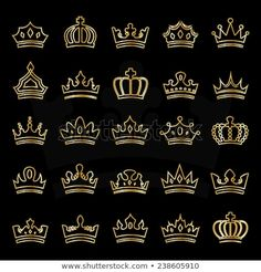 Crown Icons Set - Isolated On Black Background - Vector Illustration, Graphic Design, Editable For Your Design King Crown Drawing, King Crown Tattoo, Small Crown Tattoo, Crown Tattoo Design, Bff Tattoos, Word Tattoos, Clothing Brand Logos, Graffiti Words, Website Design Layout