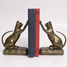 brass bookends antique | Playful Cats Vintage Brass Bookends $64
