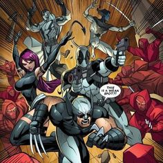 X-Force- Wolverine, Psylocke, Deadpool, Fantomex, and Nightcrawler Marvel Comic Universe, Marvel Comics Art, Comics Universe, Marvel Dc Comics, Marvel Heroes, Marvel Comic Character, Comic Book Characters, Marvel Characters, Comic Books Art