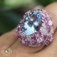 Diving in an exquisite cocktail ring by ct aquamarine beautifully setted with diamonds and pink sapphires I love it 💕 - credit . Jewelry Tools, Jewelry Rings, Jewelry Accessories, Jewellery, Pink Sapphire, Blue Topaz, Aquamarine Rings, Amethyst, All Things Fabulous