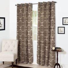 Somerset Home Dana Flocked Curtain Panel, Gold