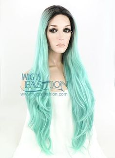 """22"""" Long Wavy Black Mixed Light Green Lace Front Synthetic Hair Wig LF 