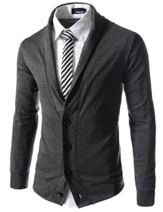 TheLees (GD132) Mens Slim Fit Collar Point Button Cardigan Charcoal US S(Tag size L)