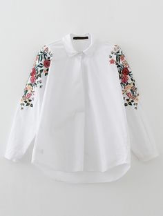 SheIn offers White Flower Embroidery High Low Blouse & more to fit your fashionable needs. Hijab Fashion, Girl Fashion, Fashion Looks, Fashion Outfits, Womens Fashion, Fashion Design, Shirt Embroidery, Flower Embroidery, Suits For Women