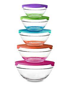 Purple & Green Five-Piece Glass Bowl Set