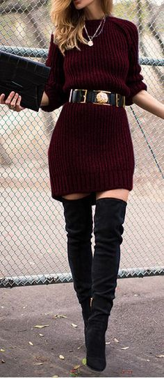 Chunky sweater dress paired with over the knee boots
