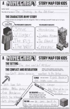 Minecraft and architecture printables narrative writing writing minecraft story map for kids teach creative writing with minecraft thank the publicscrutiny Choice Image