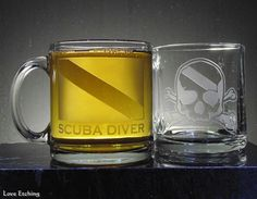 This etched glass coffee mug is for you, or for the Scuba Diver in your life that has everything. You are looking at ONE etched glass coffee mug. It has a Scuba Dive Flag and 'SCUBA DIVER' etched on Glass Coffee Mugs, Beer Mugs, Etched Gifts, Gifts For Scuba Divers, Dive Flag, Etched Wine Glasses, 3d Printed Jewelry, Glass Candle Holders, Glass Etching