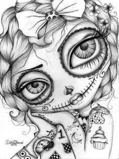 Amelia Day of the Dead - Dottie Gleason: // coloring page for grown ups, adult coloring book pages // creepy art Skull Coloring Pages, Coloring Book Pages, Coloring Pages For Grown Ups, Sugar Skull Art, Sugar Skulls, Geniale Tattoos, Lowbrow Art, Day Of The Dead, Adult Coloring