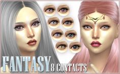 "Mod The Sims - ""Enchanting"" - 5 Eye Contacts + Fantasy Version"