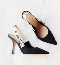Shop Women's Dior Black White size 6 Heels at a discounted price at Poshmark. Description: Size 6 Black & white style 4 in. heel Comes with dust bag Like new, worn once. Black Slingback Heels, Stiletto Heels, Dior Shoes, Shoes Heels, Pretty Heels, Shoes World, Black White Fashion, Shoe Collection, Designer Shoes