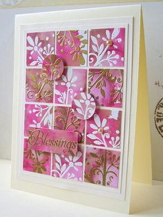 handmade card ... three by four inchie grid ...  color blend of red, pink brown alcohol ink background ... white  or gold embossing on top ... like the addition of two punched cirles from the same faimily of paper ...