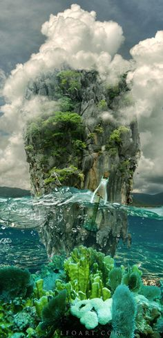 Message in a Bottle, bottle splashing in waves, Rough Water Surface, copy space, james bond island, close up of water wave, bubbles, tropic landscape, sea, ocean corals, seascape photomanipulation.