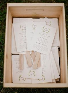 Dual-purpose guest programs are the way to go that piece of paper gets more of your moneys worth if it serves another function! These programs feature popsicle stick handles perfect for guests to use as a fan when it gets too hot at an outdoor ceremony. Creative Wedding Programs, Wedding Reception Program, Wedding Ceremony Decorations, Fan Wedding Programs, Wedding Venues, Wedding Aisles, Wedding Backdrops, Creative Wedding Ideas, Wedding Ceremonies