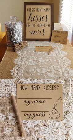 easy to do bridal shower games what bridal shower games to play bridal shower games rustic bridal shower shabby chic bridal shower burlap and lace bridal showerhow many kisses bridal shower game guess how many kisses are in the jar bridal shower Chic Bridal Showers, Bridal Shower Rustic, Wedding Showers, Burlap Bridal Showers, Shabby Chic Shower, Bridal Shower Planning, Bridal Shower Prizes, Wedding Shower Favors, Fun Bridal Shower Games