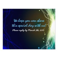 Glowing Neon Stars Bar Mitzvah  REPLY card Invite
