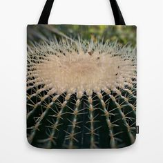 """Cactus image Tote Bag by gunadesign - $22.00 It should keep unwanted guests away from your bag  it is hand sewn in America using durable, yet lightweight, poly poplin fabric. All seams and stress points are double stitched for durability. They are washable, feature original artwork on both sides and a sturdy 1"""" wide cotton webbing strap for comfortably carrying over your shoulder."""