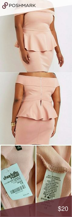 "New Plus Size Off Shoulder Peplum Dress Thick, stretchy knit sculpts a sexy and sleek night-out dress! The bodycon silhouette gets a fluttery peplum layer at the waist, while wrapped panels create a stunning off-the-shoulder neckline. Pair this dress with caged heels for some high fashion action! Rose pink MINI.  Zipper closure at back Bust is lined Product Model Size: Model is 5'10"" tall, Dress is a Mini Dress Product Fit: Model is wearing size 1X. Size 1X measures 31"" from top to hem…"