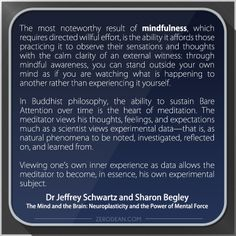 'The most noteworthy result of mindfulness...'