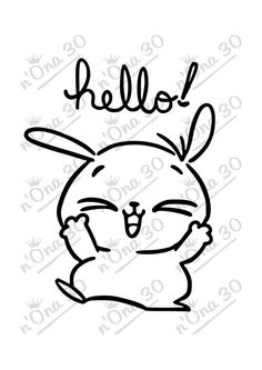 HELLO BUNNY design file for Silhouette or other cutting por Nona30