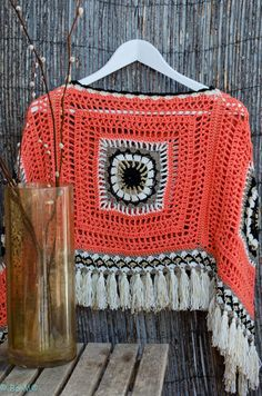 Crochet Granny Square Poncho.