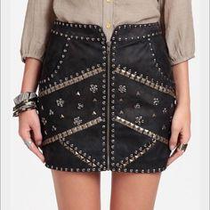 Ladakh Cobra Studded Skirt vegan leather size 4 Black vegan leather miniskirt, front zipper, studded on front Ladakh Skirts Mini