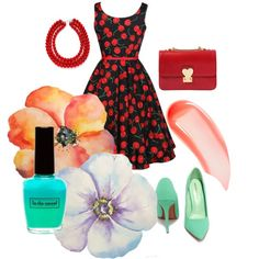 cherry by chrichri on Polyvore featuring Shoe Republic LA, Valentino and NARS Cosmetics