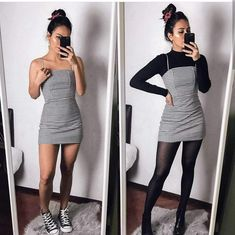 Black Striped Dress - Outfits for Work - Winter Outfits for Work Winter Fashion Outfits, Fall Winter Outfits, Look Fashion, Autumn Fashion, Dresses In Winter, Party Outfit Winter, Fall Skirt Outfits, Winter Night Outfit, Fall Outfits For Teen Girls
