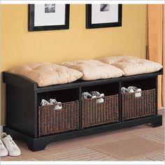 Coaster Black Storage Bench with Baskets - 501064