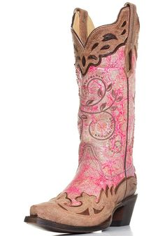 Corral Womens Wing Tip Snip Toe Western Cowboy Boots - Pink/Brown $232.00