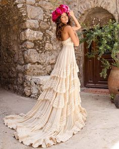 Bohemian bridal couture never looked more luxurious! Ready to break some rules of convention? 2016 Wedding Dresses, Stunning Wedding Dresses, Bridal Dresses, Wedding Gowns, Vintage Inspired Wedding Dresses, Event Dresses, Bridesmaid Dresses, Boho Wedding Dress Bohemian, Bohemian Weddings