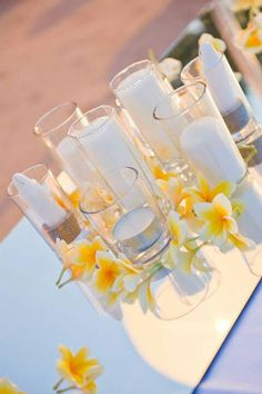 Tropical frangipani wedding decorations