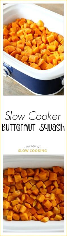 Slow Cooker Butternut Squash: a simple side dish recipe for butternut squash in the slow cooker that can be prepped in minutes.: